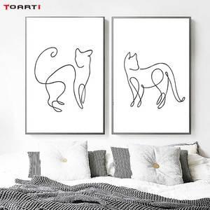 Image 3 - Минималистичные печатные плакаты с животными, забавная Картина на холсте с котом на стене для детей, питомник, спальня, домашний декор, Современные художественные картины