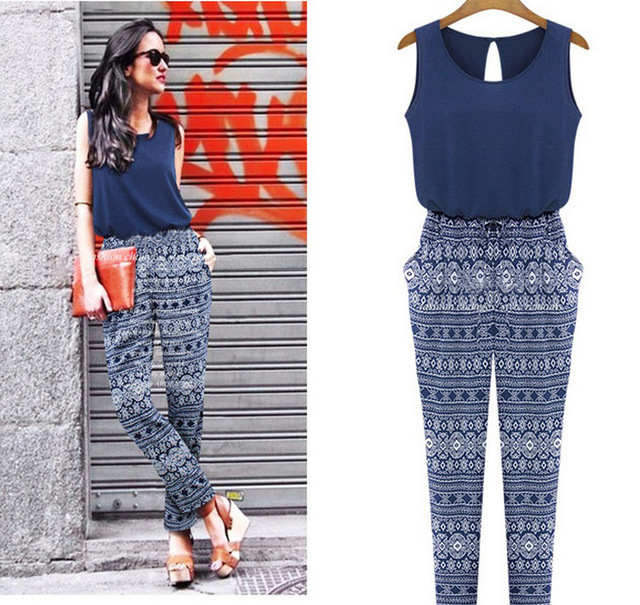 c19ae3af9 Mujeres mamelucos gasa elegante mono combinaison 2015 del estilo del verano  para mujer pantalones largos mujeres