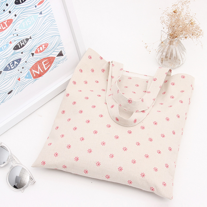 YILE Handmade Cotton Linen Eco Reusable Shopping Shoulder Bag Tote Pink Daisy Flower L030
