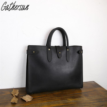 Gathersun Brand Original Design Handmade Men's Genuine Leather Bags For Unisex Casual  Briefcase Without cloth lining