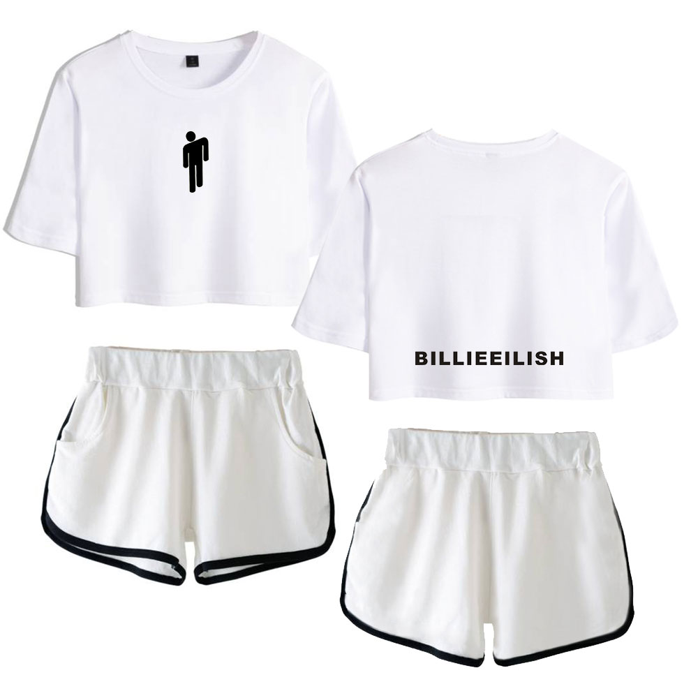 Hot Fashion Billie Eilish Summer Clothes For Women Shorts T-Shirt 2 Piece Outfits For Women Clothing Top Sexy Outfits