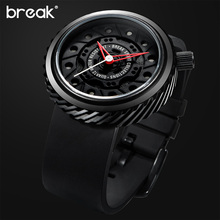 BREAK Top Luxury Men Motorcyle Sports Watch Rubber Strap Casual Fashion Passion Waterproof Geek Creative Gift Wristwatch for men
