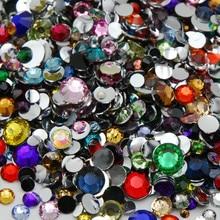 Mixed Sizes SS6-SS30(2MM-6.5MM)36color Acrylic rhinestones 3D Nail Art flat back rhinestones DIY crystal for dress jewelry Shiny