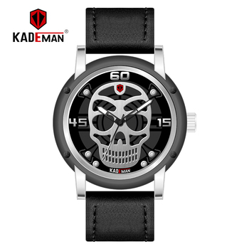 dac1333ea160 KADEMAN hombres reloj deporte impermeable cráneo reloj superior de la marca  del ejército militar relojes de negocio único hombre reloj Relogio Masculino