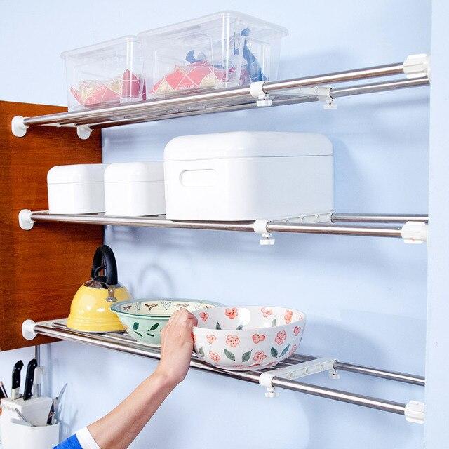 BYN 2 Poles Expandable 117 188cm Storage Rack Organizer For Bathroom  Wardrobe Kitchen Space Saver