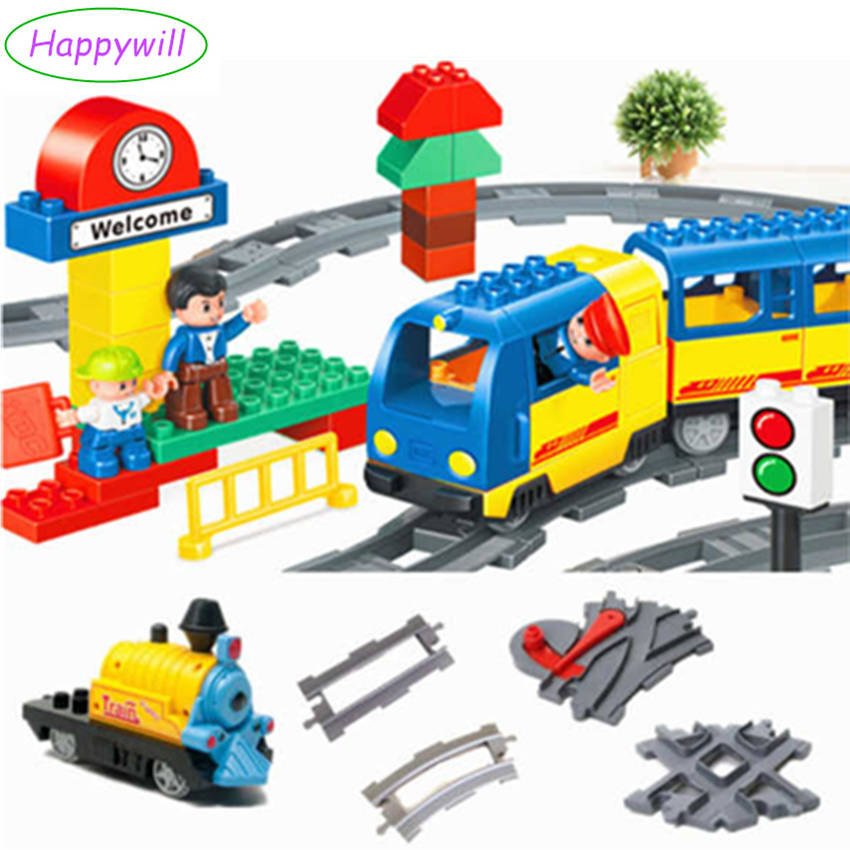 Train Building Blocks Coach Tracks Kids Toys Railway Assembling Parts Cross Rail Swtich Round Stright Track Compatible Duplo