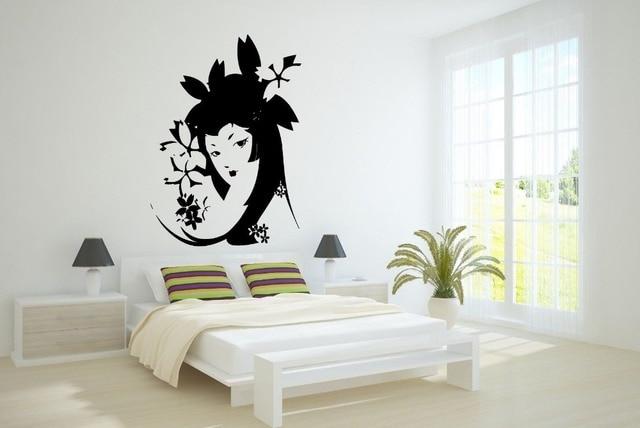 Muur decor vinyl sticker kamer decal art geisha mooie meisje met