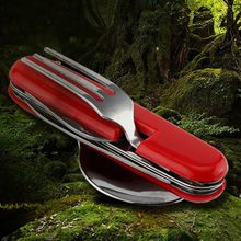 цены Outdoor Cutlery Set Knife Spoon Fork Bottle Opener Collapsible Portable Camping Tableware