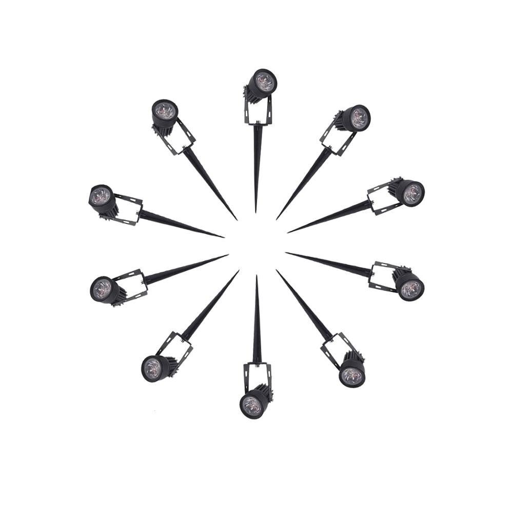 10pcs 220V 12V LED Garden Light 1w 3w IP65 Waterproof Outdoor Lighting Spot Flood Lawn Lamp Led Lights Warm/Cold White
