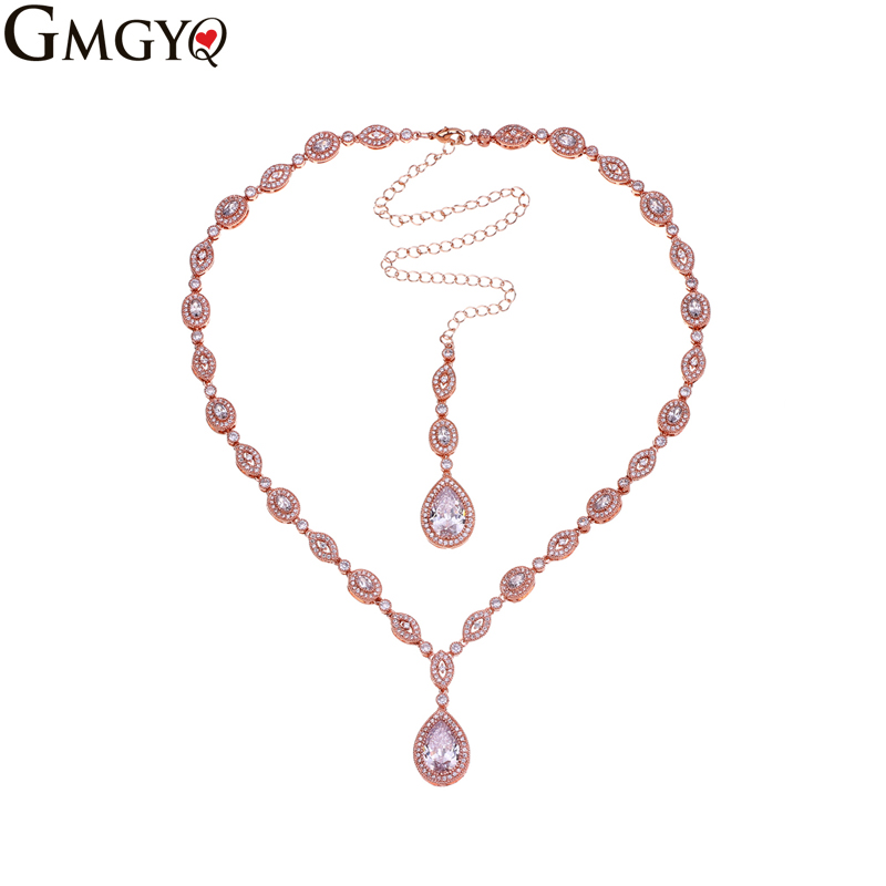 GMGYQ Fashion Necklaces For Women 2018 Water Drop AAA cubic zirconia Necklace Pendant Jewelry Making Wholesale Gifts For Women