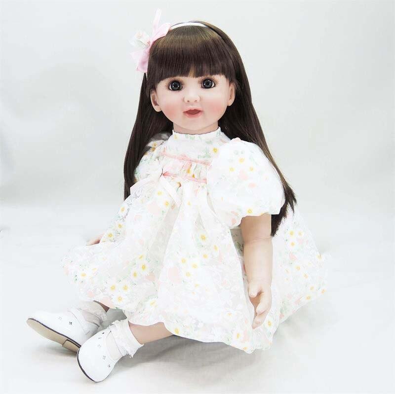 24 pouces fille reborn bébé poupée jouets réaliste réaliste princesse tout-petits longhair adorables poupées bébé jouet reborn poupées à vendre