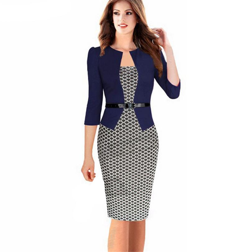 Elegant Woman Dress Office Sashes Women Pencil Dress font b Tartan b font Formal Girl Bodycon
