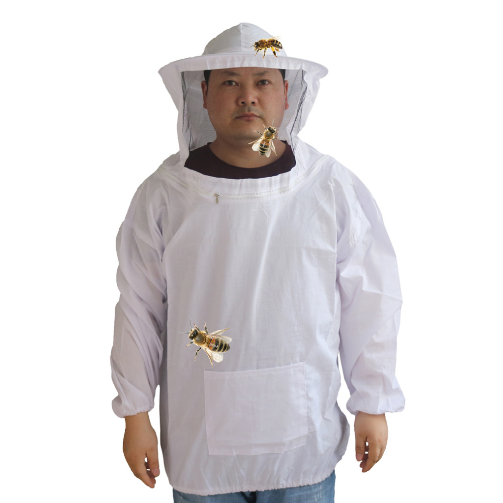 Beekeeping Anti-bee Clothing Breathable Dedicated Beekeeping Suit Beekeeper Half body with bee-proof cap 1 PcBeekeeping Anti-bee Clothing Breathable Dedicated Beekeeping Suit Beekeeper Half body with bee-proof cap 1 Pc