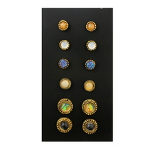 BeautyWay 6 Pair/Set Colorful Stone Crystal Stud Earrings Set for Women Bohemia Antique Gold Color Earrings Jewelry 4637