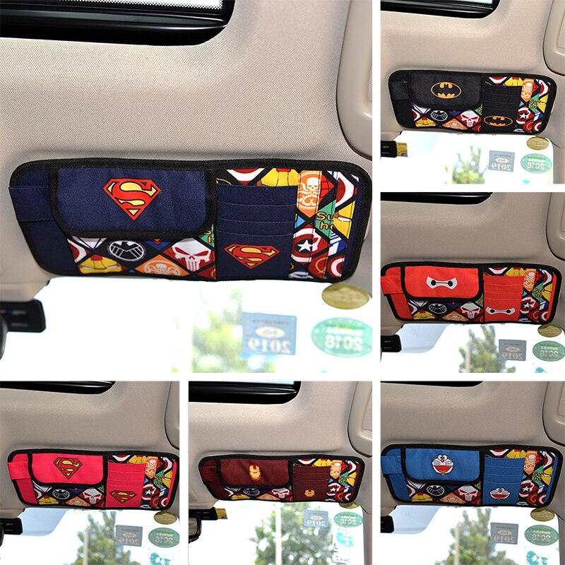 Cartoon Car Sun Visor CD Holder Storage Bag DVD Card Case License Storages Organizer Sunshade Decoration Bags Pockets