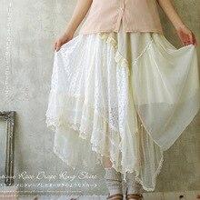 Японский Для женщин вышитые большой пончо кружево Слои с декоративными цветочными вставками; асимметричное платье в стиле «лолита» в стиле «Лолита» с Женская юбка Мори для девушки A045