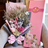 dried flower natural baby breath kapok rabbit Air drying true flowers bouquet gift packaging Wishing rabbit dried flower