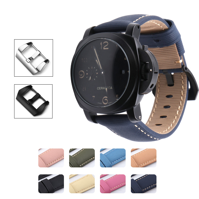 Colorful Genuine Cow Leather Stripe Watchband Watch Strap Band For Panerai Watch <font><b>PAM</b></font> <font><b>Bracelet</b></font> 24mm PAM688 PAM728 PAM441 PAM359 image