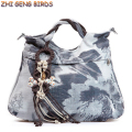 ZHI GENG BIRDS! Women Bag Canvas Handbag 2017 Casual Vintage Tote Lady Tassel Print Shopping Bag Travel Single Shoulder Bags Y69