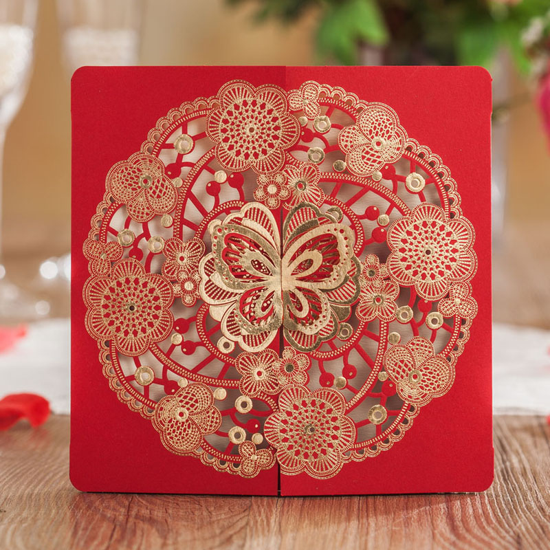 50pcs Laser Cut Wedding Invitations Card Red Butterfly Party Invitation Engagement Marriage Bride Baby Shower Birthday Cards 50pcs pack laser cut wedding invitations ivory flowers paper cardstock for engagement wedding birthday graduation anniversary