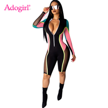 Adogirl Sheer Mesh Color Patchwork Women Sexy Jumpsuit Zipper V Neck Long Sleeve Casual Romper Club Party Overalls Playsuits