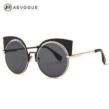 Aevogue очки женщин кошачий глаз Rount сплава кадр классический роскошные солнцезащитные очки классический оттенки модной UV400 AE0356