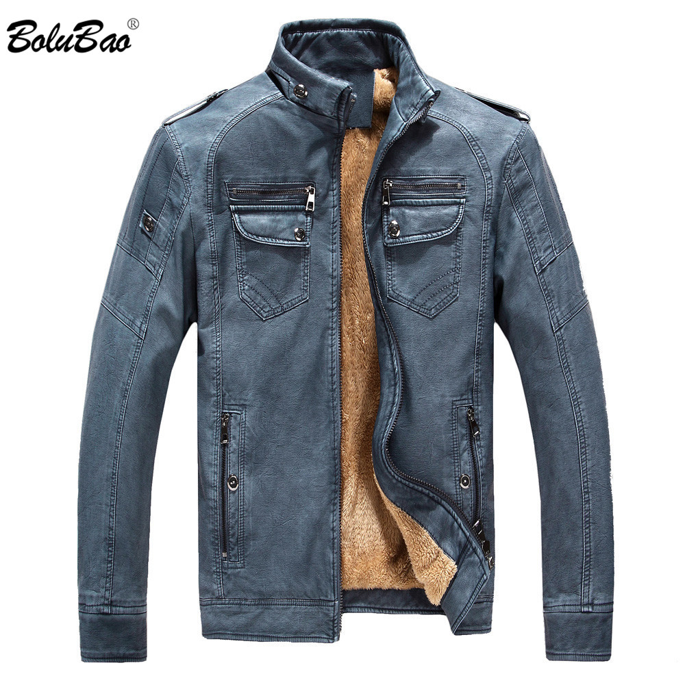 Brand New Men Winter Leather Suede Thick Warm Fleece Lined Mens Bomber Jackets Male Jacket Suede Leather Jacket For Men