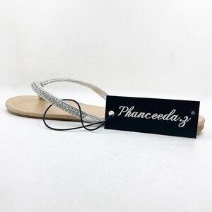 Image 5 - Zapatos informales para mujer, sandalias con abalorios y flores, chanclas florales de playa con hebilla, para verano, 2020
