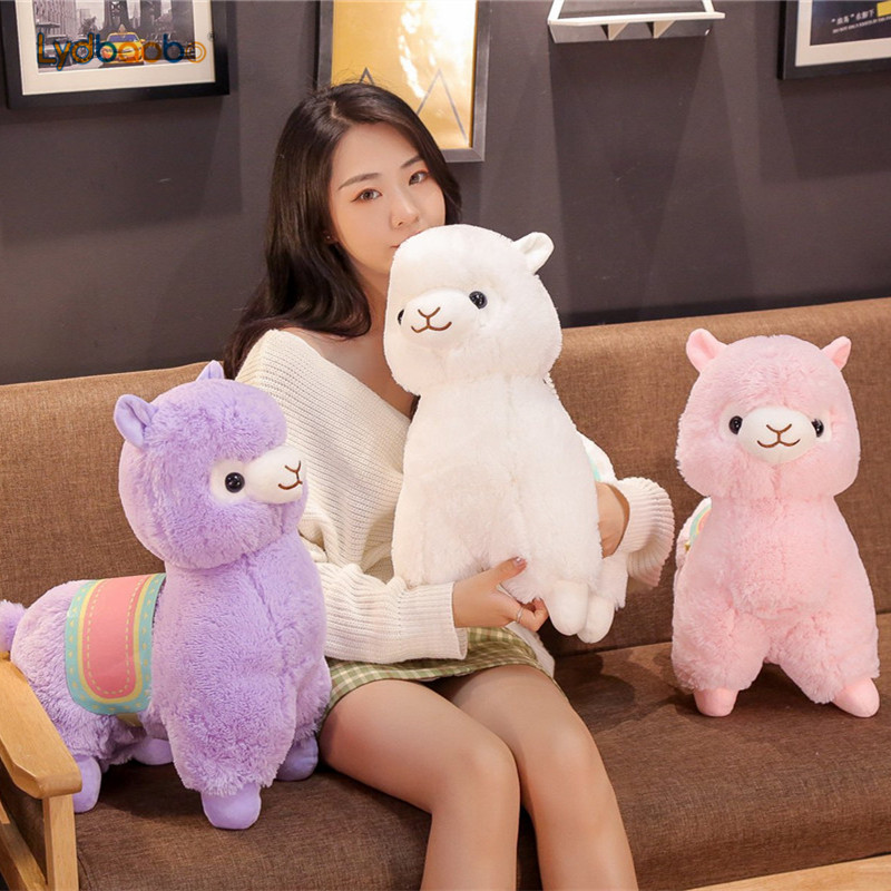 1pc New Stuffed Kawaii Pink/white Japanese Aplaca Cute Sheep With Saddle Plush Doll Smile Alpaca Llama Soft Toys Gifts For Kids