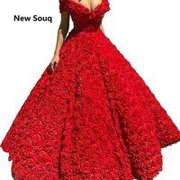 2019 Unique Design Red Rose Flower Prom Dresses V neck Off The Shoulder Evening Dress Vestidos De 15 Robe De Mariee