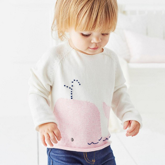 Little maven baby girl clothes 2017 new winter girls clothes Cotton lovely whale white sweater SW002