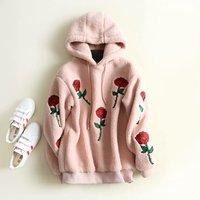 Valentine Women Sweatshirt Embroidery Roses Hoodies Pink Sweatshirts woman Clothing Plus Size Streetwear