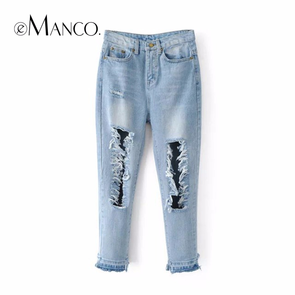 ФОТО e-Manco   Fashion Europe and the United States wind high waist water wash white large Holes jeans women trousers