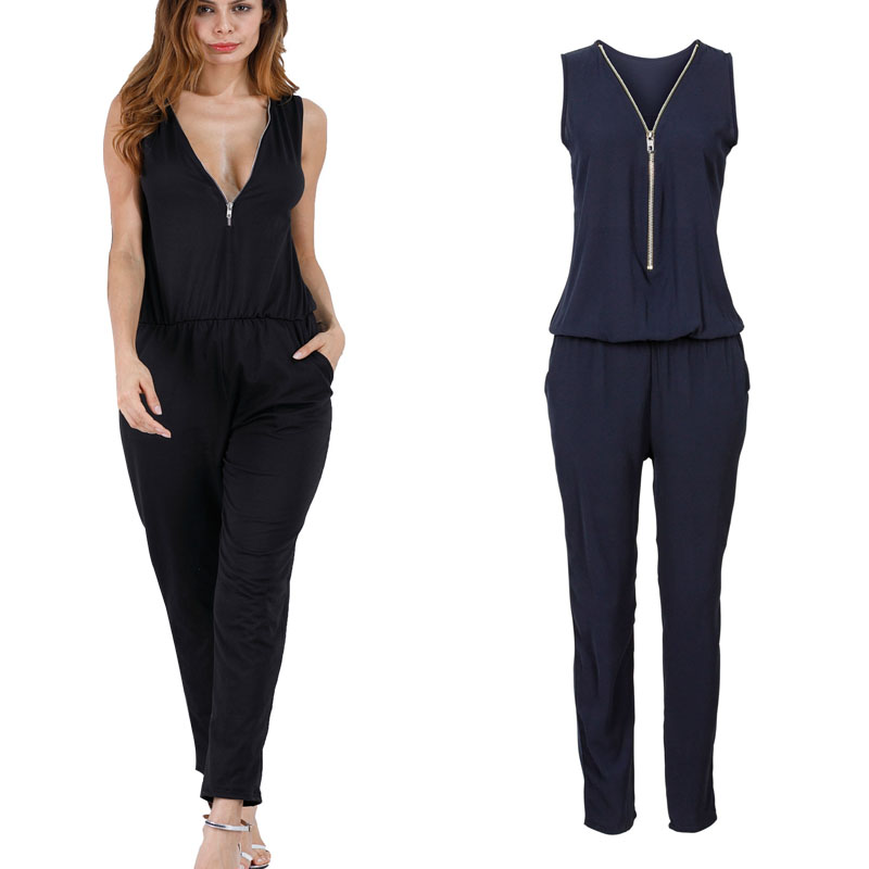 Sexy Sleeveless   jumpsuit   women long romper summer women lady zipper playsuit trousers beach   jumpsuit   coveralls female frock new