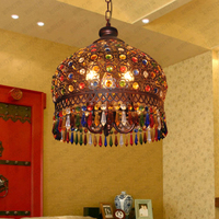 Modern Bohemia Vintage Fashion LED Colorful K9 Crystal Pendant Lamp Bronze Decoration Fixture Lights Luxury Chandeliers Light