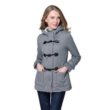 2017 Spring Autumn Women Slim fit Wool blended Mid Long Coat Thin Jacket Hooded Outwears Zipper Lady Overcoats Plus Size 4XL