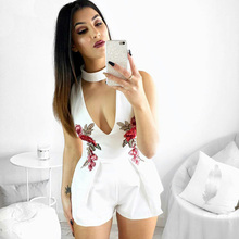 2018 summer Elegant sexy V Neck Rose Florla Embroidery Women Playsuits Sleeveless Rompers Jumpsuits Casual Beach halter Overalls