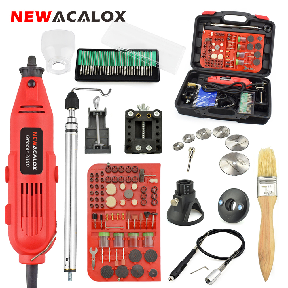 NEWACALOX EU/US 220V 260W Mini Electric Drill Variable Speed Grinder Grinding Machine Engraving Accessories Dremel Rotary Tools rus stock 10pcs tnc male plug crimp connectors for rg58 rg142 lmr195 rg400 cable fast ship