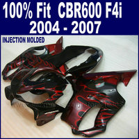 ABS injection fairings kit for Honda 2004 2005 2006 2007 CBR600 F4i cbr 600 f4i 04 05 06 07 black with red flames fairing kits