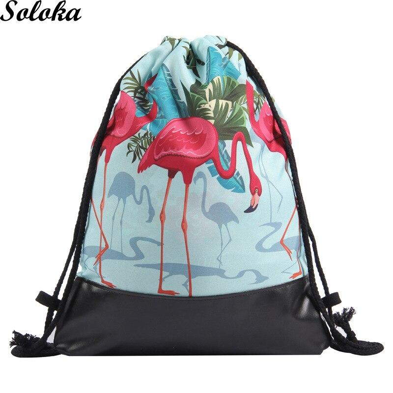 1 Pc Pu Leder Kordelzug Tasche Gedruckt Flamingo Rucksack Strahl Tasche 3d Druck Schulranzen Tier Muster Buch Tasche Schuh Rucksack