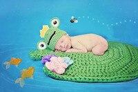 Newborn Zdjęcie Kapelusz + Koc Fotografia Rekwizyty Żaba Lotosu Kostium Szydełka Ubrania Zielone Niemowlę Dziecko Dzianiny Czapka Czapka Prysznic Prezent