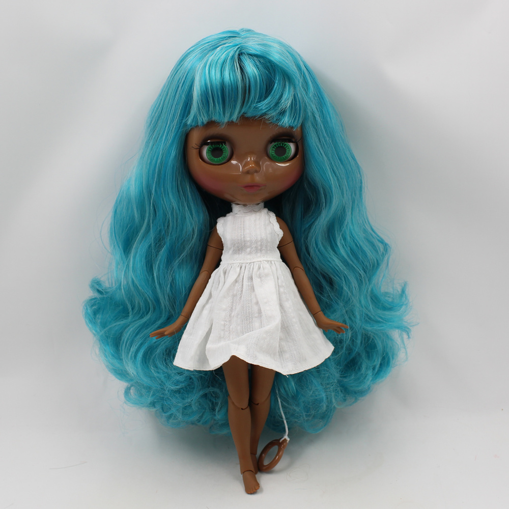Blyth nude doll Dark black skin joint body blue mix gray hair with bangs 30cm fashion blyth doll toys for sale игрушка ecx ruckus gray blue ecx00013t1