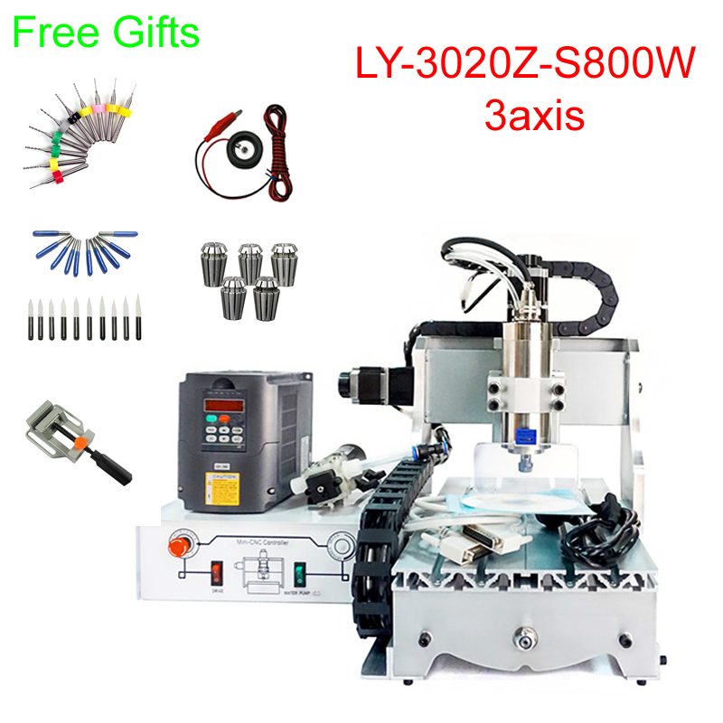Mini cnc metal milling machine 3020Z-S800 3axis CNC engraving machine 800W water cooling spindle Mini cnc metal milling machine 3020Z-S800 3axis CNC engraving machine 800W water cooling spindle