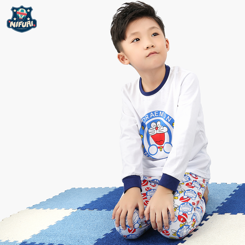Hongkong NFI animation machine cat cartoon pattern Doraemon long sleeve childrens home suit pajamas boys clothing pajamas wear