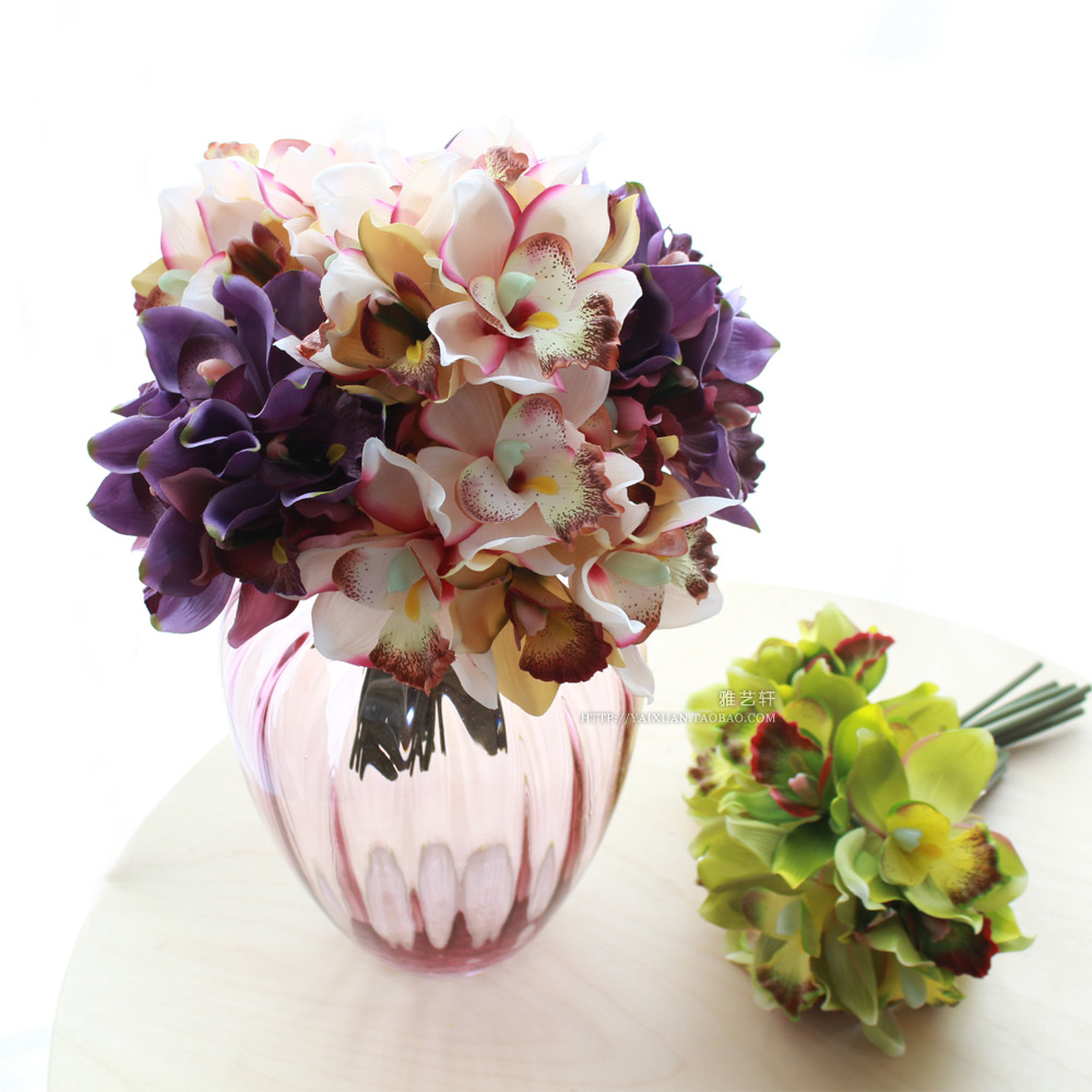 Free shipping 7 flower heads piece artificial flowers for Artificial flowers decoration for home