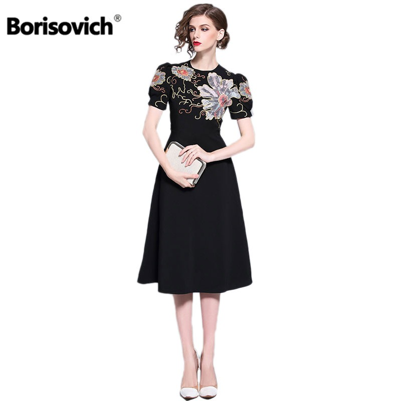 Dresses New Stars High-end Lace Embroidery Dress Short Sleeve Elegant Turtleneck Sashes Vogue Pin Up Medium Long Dress Vestidos De Festa