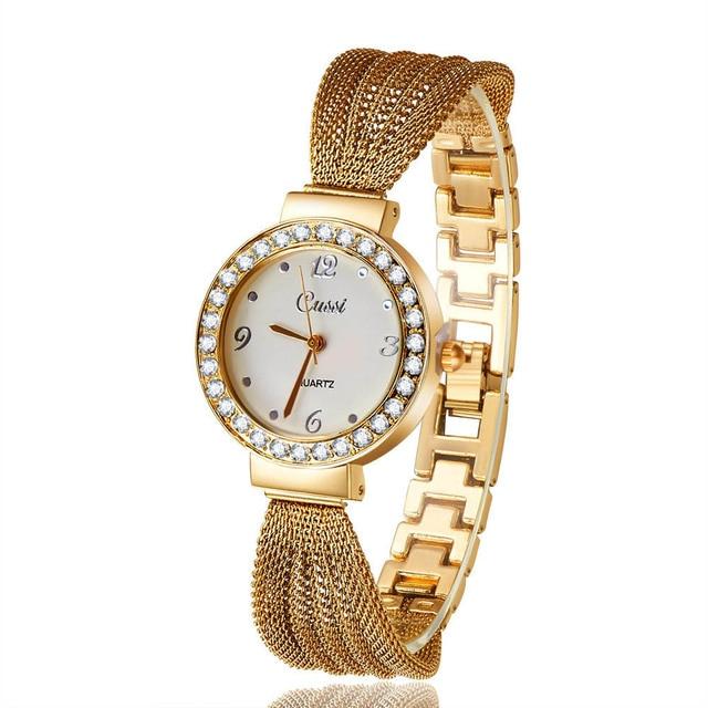 2018 New Casual Luxury Brand Cussi Women Dress Wrist Watches Classic Bracelet Rhinestone Quartz Rose Gold Watch Atmos Clock