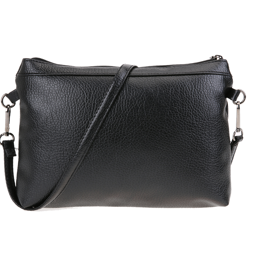 2pcs/Set New Fashion Women PU Leather Shoulder Bag High Quality Ladies Messenger Crossbody Bag Female Simple Clutch Bag Black
