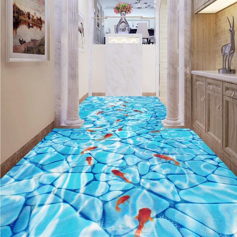 Free Shipping Clean river water corridor toilet 3D floor wear non slip thickened bedroom bathroom living