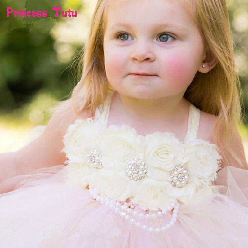 Shabby Flower with Pearls Rhinestone Flower Girl Tutu Dress Tulle Girls Wedding Party Dress Kids Girls Ball Gown Tulle Dresses